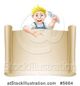 Vector Illustration of a Happy Blond Mechanic Man Holding a Wrench over a Scroll Sign by AtStockIllustration