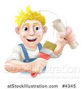 Vector Illustration of a Happy Blond Painter Holding a Certificate and Brush by AtStockIllustration