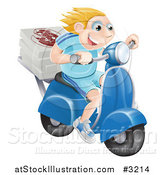 Vector Illustration of a Happy Blond Pizza Delivery Man Speeding on a Moped by AtStockIllustration
