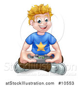 Vector Illustration of a Happy Blond White Gamer Guy Holding a Remote and Sitting on the Floor by AtStockIllustration
