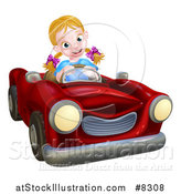 Vector Illustration of a Happy Blond White Girl Driving a Red Convertible Car by AtStockIllustration