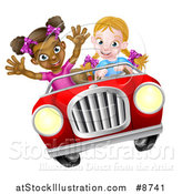 Vector Illustration of a Happy Blond White Girl Driving a Red Convertible Car with a Black Girl in the Passenger Seat by AtStockIllustration
