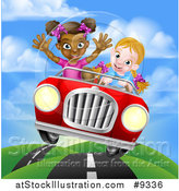 Vector Illustration of a Happy Blond White Girl Driving a Red Convertible Car with a Black Girl in the Passenger Seat on a Hilly Road by AtStockIllustration