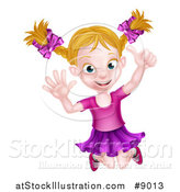 Vector Illustration of a Happy Blond White Girl Jumping and Giving a Thumb up by AtStockIllustration