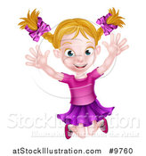 Vector Illustration of a Happy Blond White Girl Jumping by AtStockIllustration