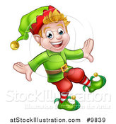 Vector Illustration of a Happy Blond White Male Christmas Elf Walking or Dancing by AtStockIllustration