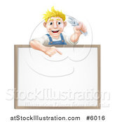 Vector Illustration of a Happy Blond White Mechanic Man Holding a Wrench over a White Board Sign by AtStockIllustration