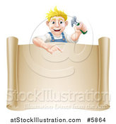 Vector Illustration of a Happy Blond White Worker Man Holding a Hammer and Pointing down at a Scroll Sign by AtStockIllustration