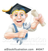 Vector Illustration of a Happy Blond Worker Graduate Holding a Wrench and Degree by AtStockIllustration