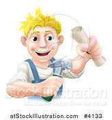 Vector Illustration of a Happy Blond Worker Man Holding a Hammer and Degree by AtStockIllustration