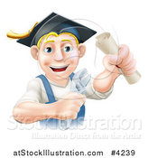 Vector Illustration of a Happy Blond Worker Wearing a Mortar Board, Holding a Wrench and Degree by AtStockIllustration