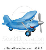 Vector Illustration of a Happy Blue Airplane Character Flying by AtStockIllustration