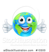 Vector Illustration of a Happy Blue and Green Earth Mascot Giving Two Thumbs up by AtStockIllustration