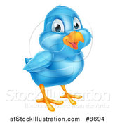 Vector Illustration of a Happy Blue Bird by AtStockIllustration