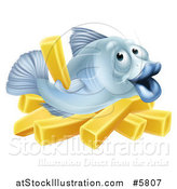 Vector Illustration of a Happy Blue Cod Fish Holding up a French Fry over Chips by AtStockIllustration