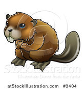 Vector Illustration of a Happy Blue Eyed Beaver by AtStockIllustration
