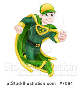 Vector Illustration of a Happy Blue Eyed Brunette Caucasian Male Super Hero Running in a Green Suit by AtStockIllustration