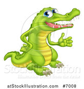 Vector Illustration of a Happy Blue Eyed Crocodile Presenting to the Right by AtStockIllustration