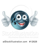 Vector Illustration of a Happy Bowling Ball Mascot Giving Two Thumbs up by AtStockIllustration