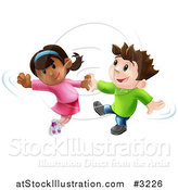 Vector Illustration of a Happy Boy and Girl Jumping and Dancing Together by AtStockIllustration