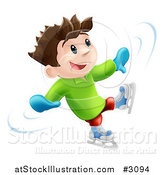 Vector Illustration of a Happy Boy Dancing and Having Fun While Ice Skating by AtStockIllustration