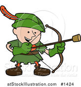 Vector Illustration of a Happy Boy in a Green Robin Hood Costume, Shooting an Arrow with a Cork on the Tip by AtStockIllustration
