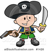 Vector Illustration of a Happy Boy in a Pirate's Costume, Wearing a Jolly Roger Hat, Holding a Pistil and a Sword by AtStockIllustration
