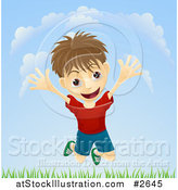 Vector Illustration of a Happy Boy Jumping Above Grass Outdoors by AtStockIllustration