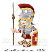 Vector Illustration of a Happy Boy Roman Soldier with a Shield and Spear by AtStockIllustration
