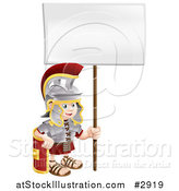 Vector Illustration of a Happy Boy Roman Soldier with a Sign by AtStockIllustration