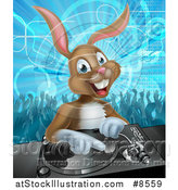 Vector Illustration of a Happy Brown Bunny Rabbit Dj over a Turntable Against a Dance Floor by AtStockIllustration