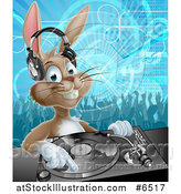 Vector Illustration of a Happy Brown Bunny Rabbit Dj Wearing Headphones over a Turntable Against a Dance Floor by AtStockIllustration