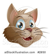 Vector Illustration of a Happy Brown Cat Face by AtStockIllustration