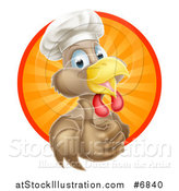 Vector Illustration of a Happy Brown Chef Chicken Giving a Thumb up and Emerging from a Circle of Sun Rays by AtStockIllustration