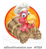 Vector Illustration of a Happy Brown Chef Chicken Giving a Thumb up and Emerging from a Circle of Sunset Rays by AtStockIllustration