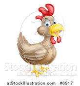 Vector Illustration of a Happy Brown Chicken or Rooster by AtStockIllustration