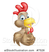 Vector Illustration of a Happy Brown Chicken or Rooster Giving a Thumb up by AtStockIllustration