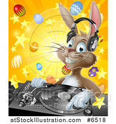 Vector Illustration of a Happy Brown Easter Bunny Rabbit Dj Wearing Headphones over a Turntable Against a Burst of Objects by AtStockIllustration