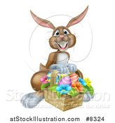 Vector Illustration of a Happy Brown Easter Bunny with a Basket of Eggs and Flowers by AtStockIllustration