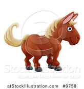 Vector Illustration of a Happy Brown Horse by AtStockIllustration
