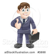 Vector Illustration of a Happy Brunette Businessman Holding a Thumb up by AtStockIllustration