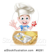 Vector Illustration of a Happy Brunette Caucasian Boy Baking Cookies by AtStockIllustration