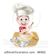 Vector Illustration of a Happy Brunette Caucasian Boy Wearing a Chef Hat and Making Frosting and Baking Cookies by AtStockIllustration