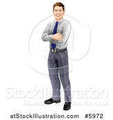 Vector Illustration of a Happy Brunette Caucasian Businessman Standing with Folded Arms by AtStockIllustration