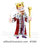 Vector Illustration of a Happy Brunette Caucasian King Giving a Thumb up and Holding a Staff by AtStockIllustration