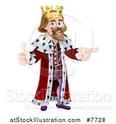 Vector Illustration of a Happy Brunette Caucasian King Giving a Thumb up and Pointing to the Right 2 by AtStockIllustration