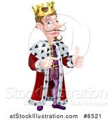 Vector Illustration of a Happy Brunette Caucasian King Giving a Thumb up and Pointing to the Right by AtStockIllustration