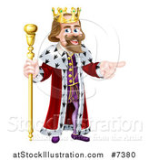 Vector Illustration of a Happy Brunette Caucasian King Holding a Staff and Pointing to the Right by AtStockIllustration