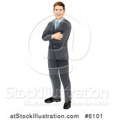 Vector Illustration of a Happy Brunette Caucasian Professional Businessman Standing with Folded Arms by AtStockIllustration