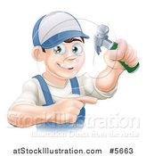 Vector Illustration of a Happy Brunette Caucasian Worker Man Holding a Hammer and Pointing by AtStockIllustration